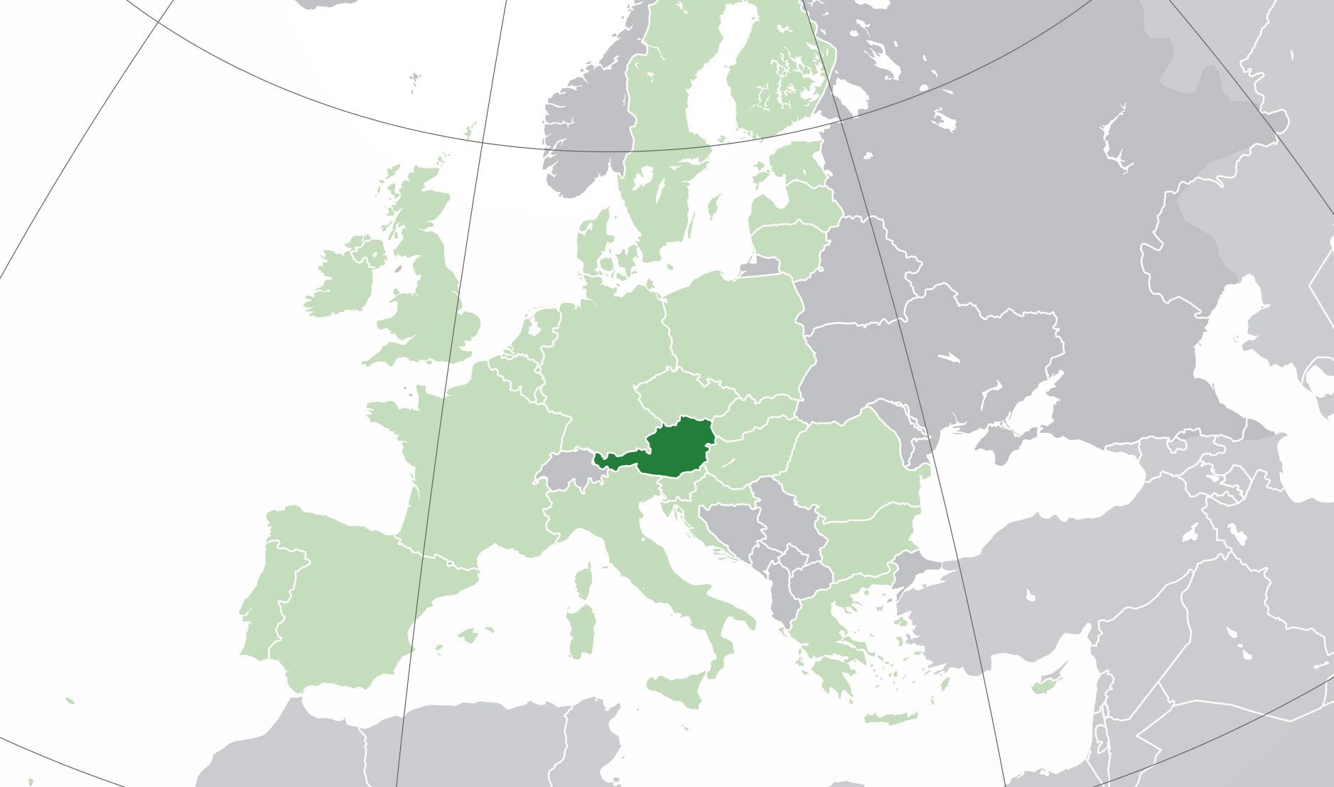 Localización geográfica de Austria