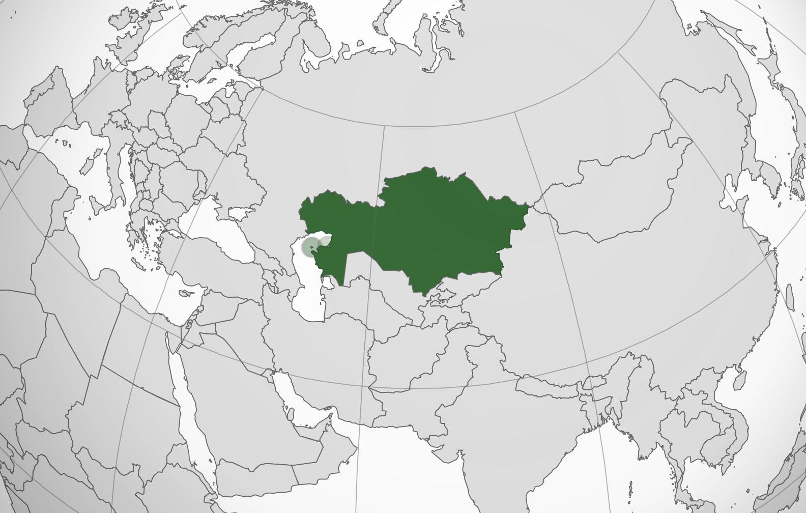 Localización geográfica de Kazajstán