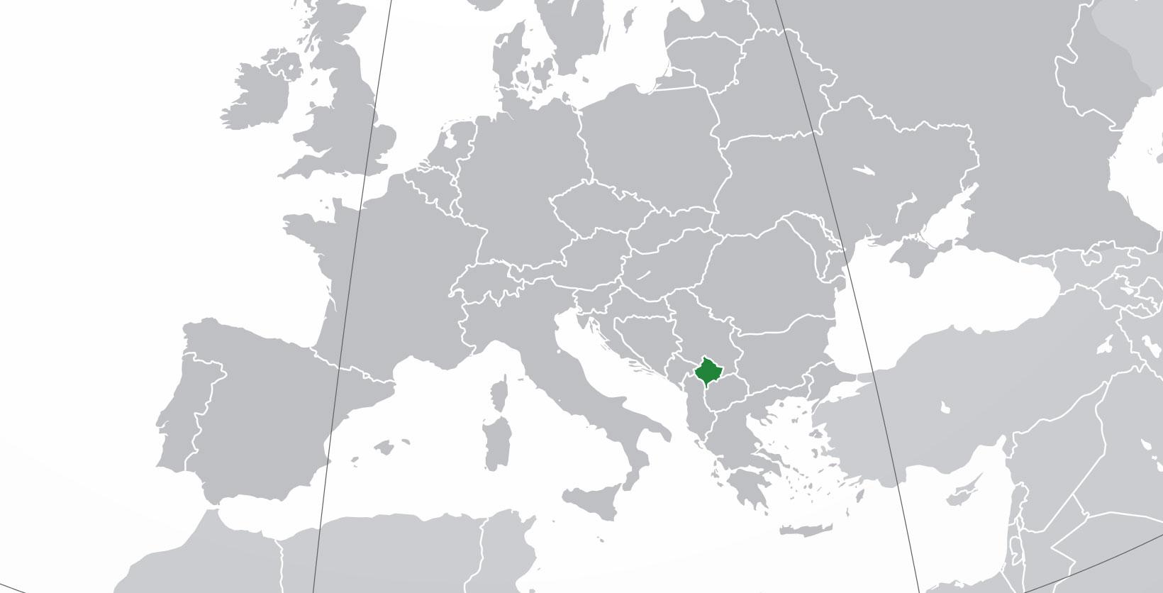 Localización geográfica de Kosovo