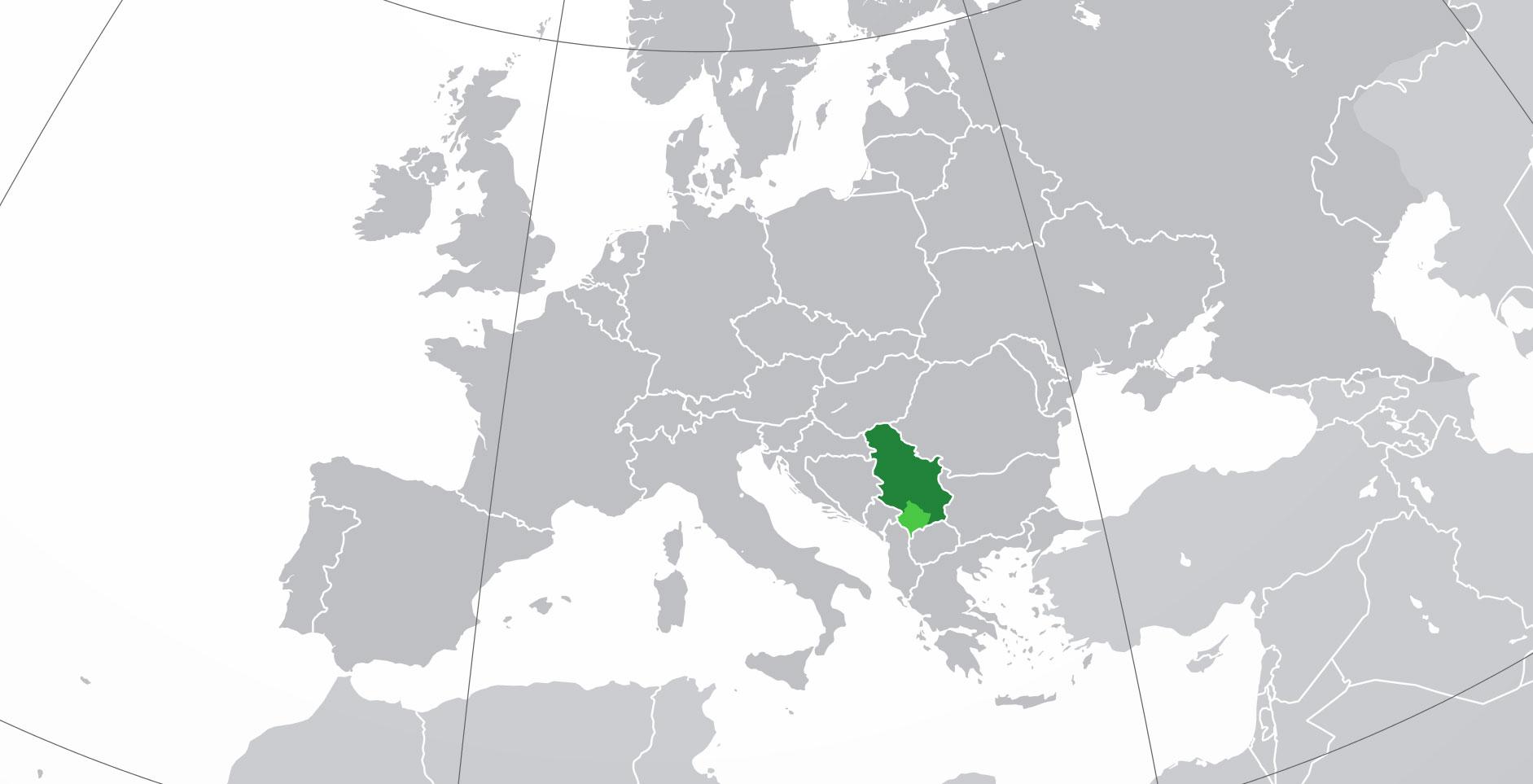 Localización geográfica de Serbia