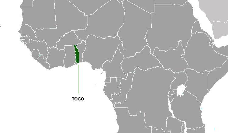 Localización geográfica de Togo