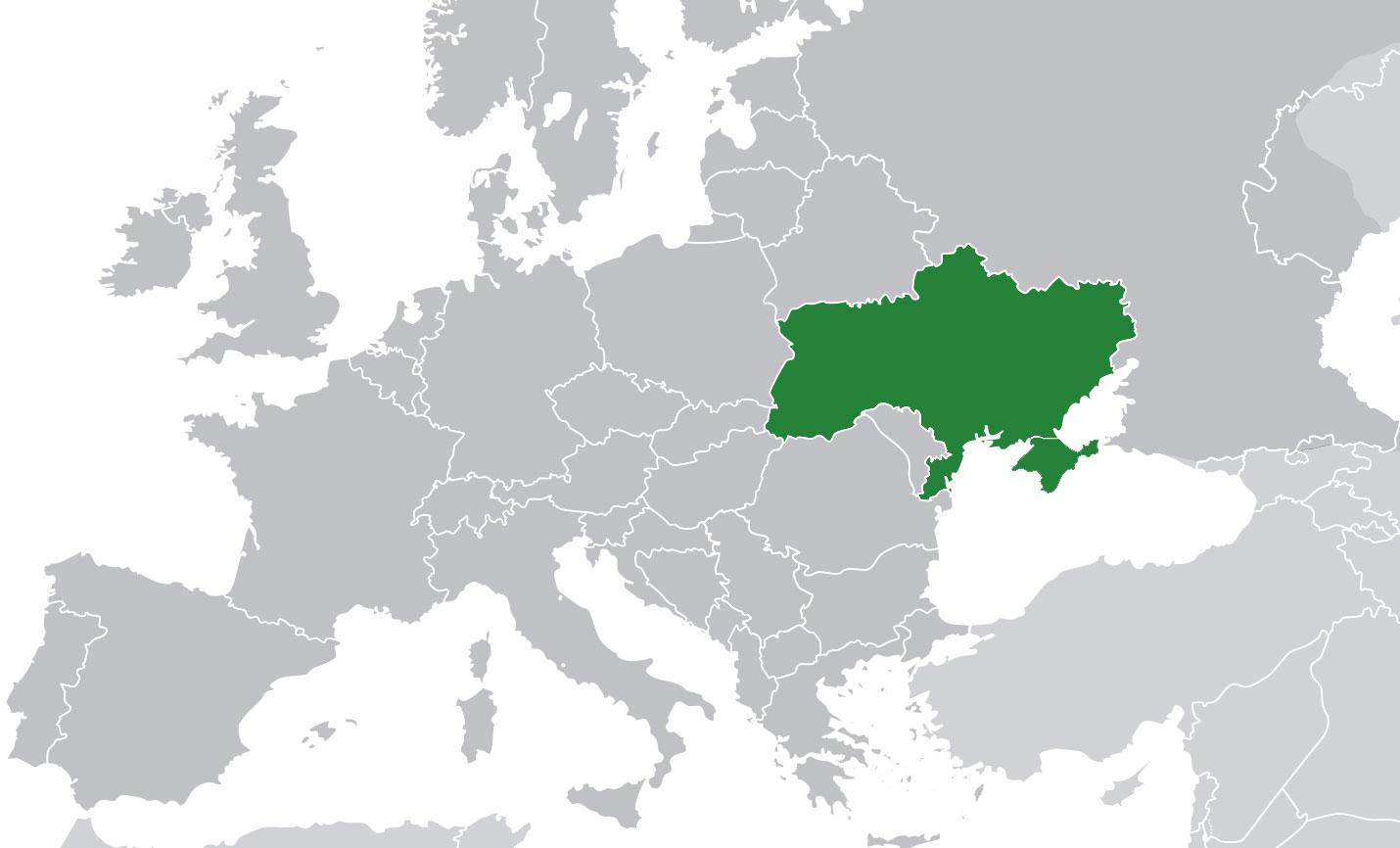 Localización geográfica de Ucrania