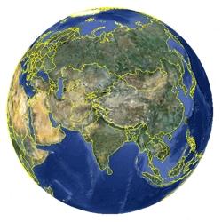 Mapa de Uzbekistán vista satelital