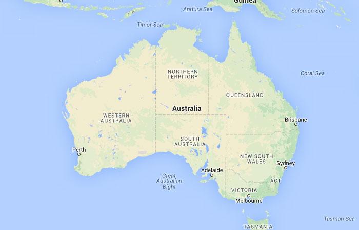 Mar De Tasmania Mapa.Mapa De Australia Donde Esta Queda Pais Encuentra