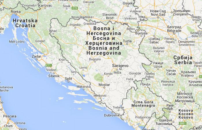 Mapa de Bosnia-Herzegovina