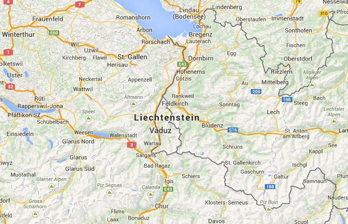 Mapa De Liechtenstein Donde Esta Queda Pais Encuentra