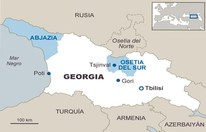 Mapa de Osetia del Sur