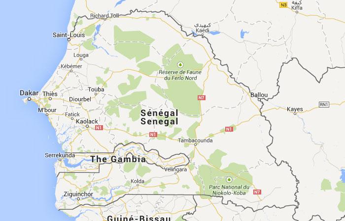 Senegal mapa capital for Donde se encuentra el marmol