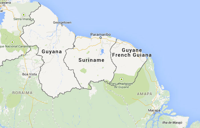 Mapa De Surinam Donde Esta Queda Pais Encuentra Localizacion