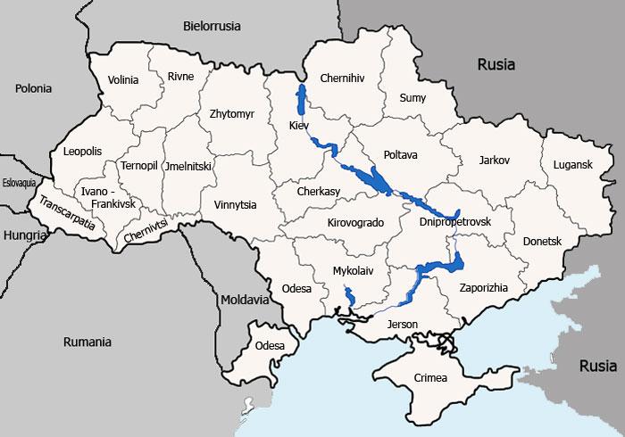 Mapa de Provincias o Regiones (Oblast) de Ucrania